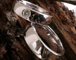 IM258 Брачни Халки с Диаманти от Платина или Бяло Злато, Полирани