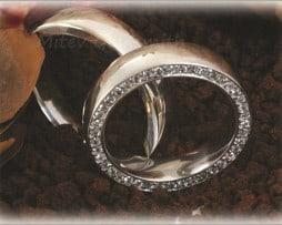 IM253 брачни халки сватбени с редица диаманти бяло злато 1