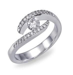 IM405 годежен диамантен пръстен от бяло злато и платина 0,25 карата