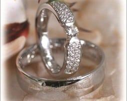 Сватбени Халки IM281 с 40 Диаманта в Бяло Злато или Платина, Полирани
