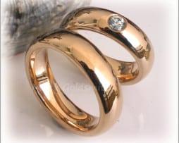 IM295 Сватбени Халки с Диамант в Жълто Злато, Полирани